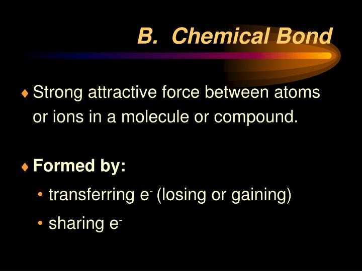 B chemical bond