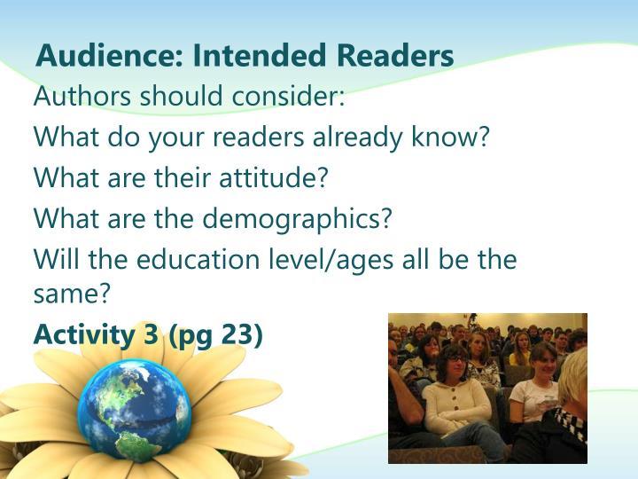 Audience: Intended Readers