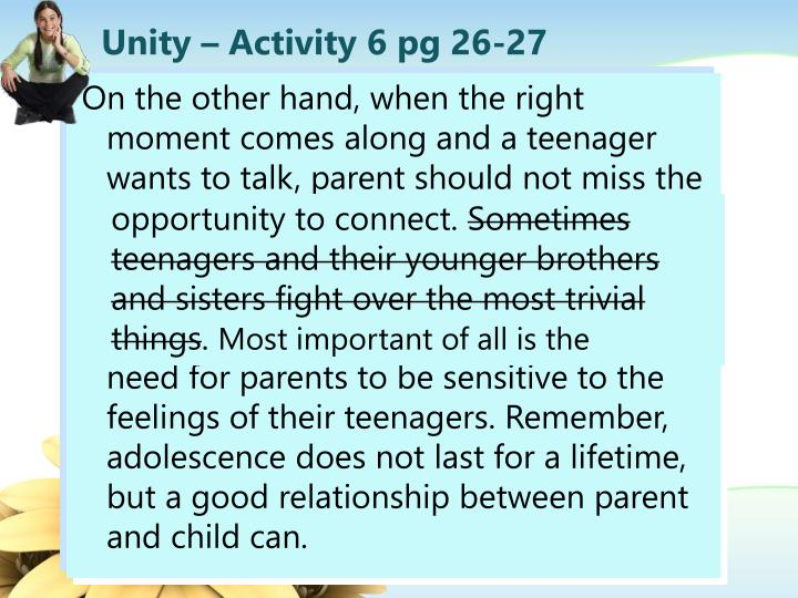 Unity – Activity 6 pg 26-27