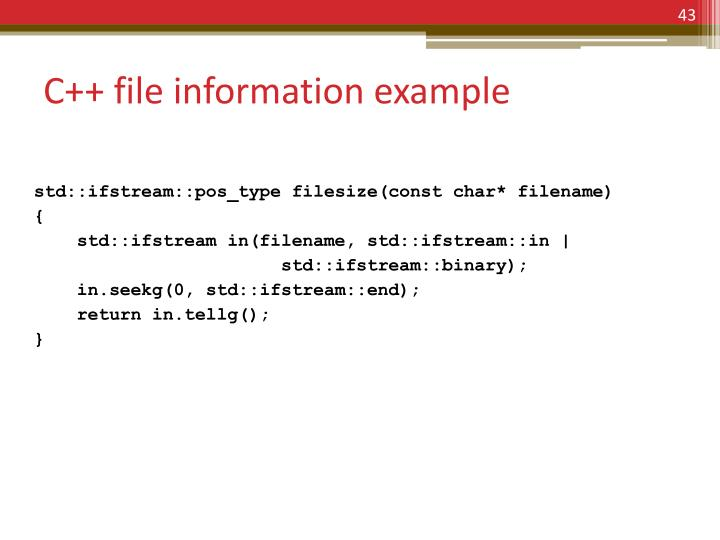 C++ file information example