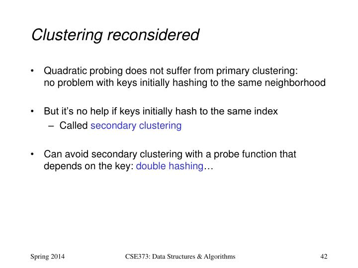 Clustering reconsidered