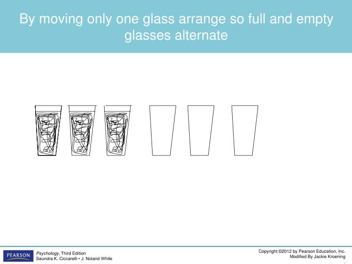 By moving only one glass arrange so full and empty glasses alternate