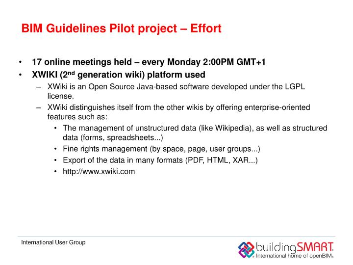 BIM Guidelines Pilot project – Effort