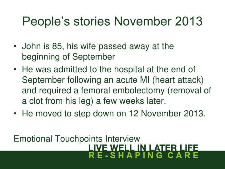 People's stories November 2013