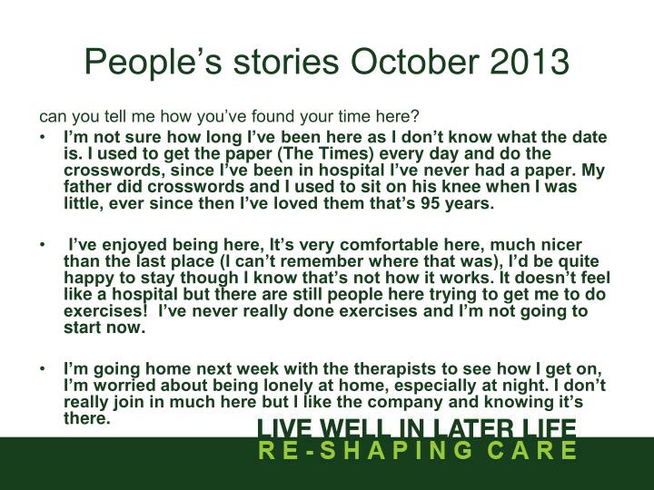 People's stories October
