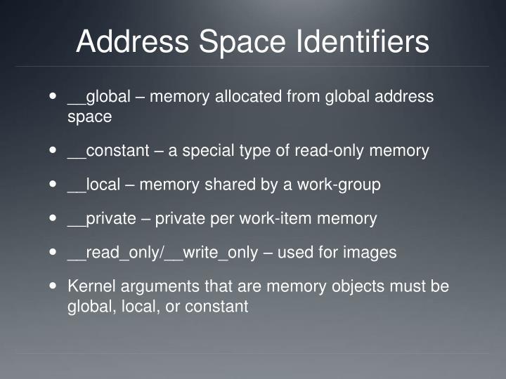 Address Space Identifiers