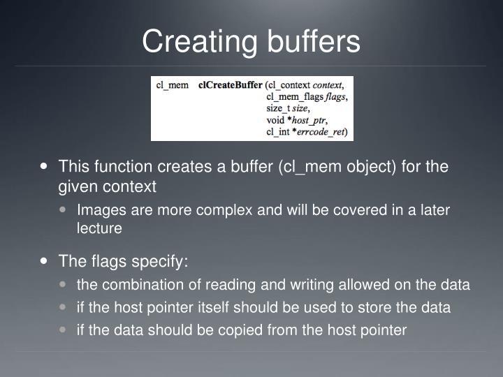 Creating buffers