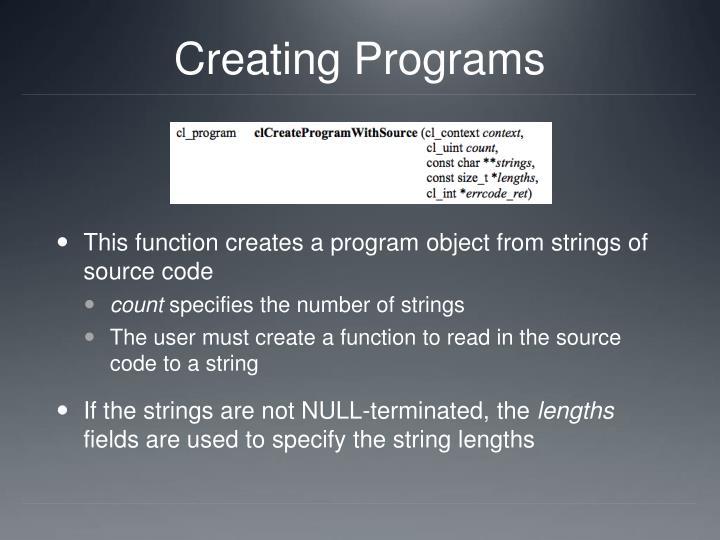 Creating Programs