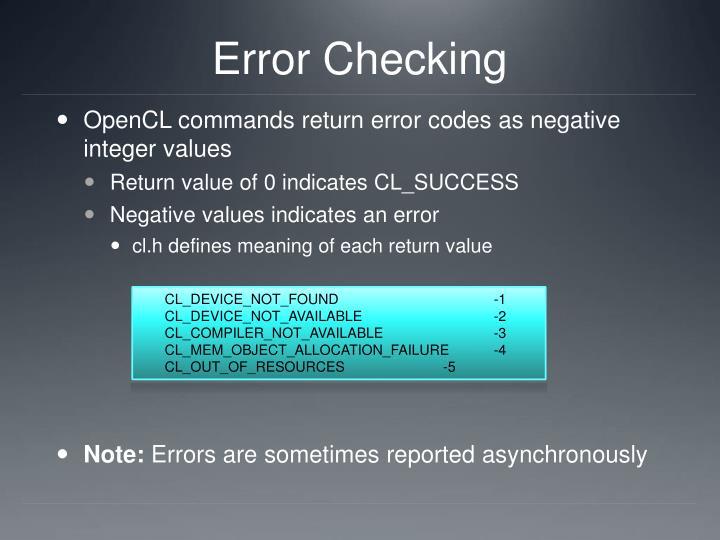 Error Checking