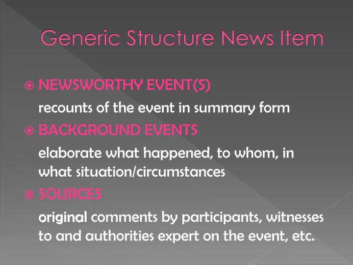 Generic Structure News Item