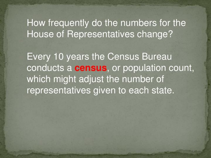 How frequently do the numbers for the House of Representatives change?