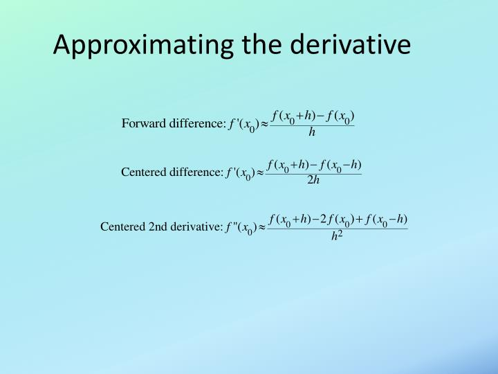 Approximating the derivative