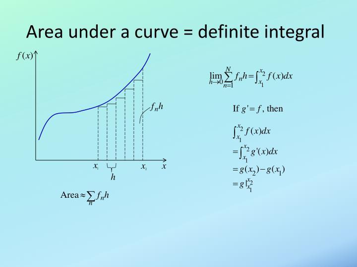 Area under a curve = definite integral