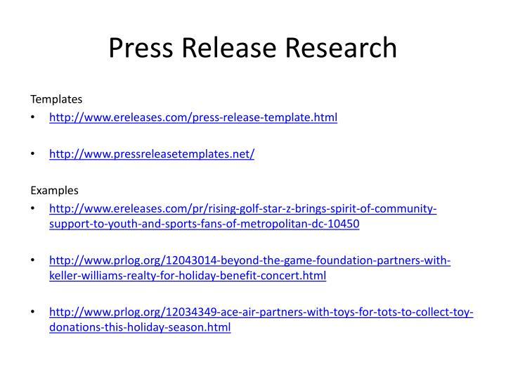 Press Release Research