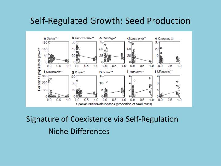 Self-Regulated Growth: Seed Production