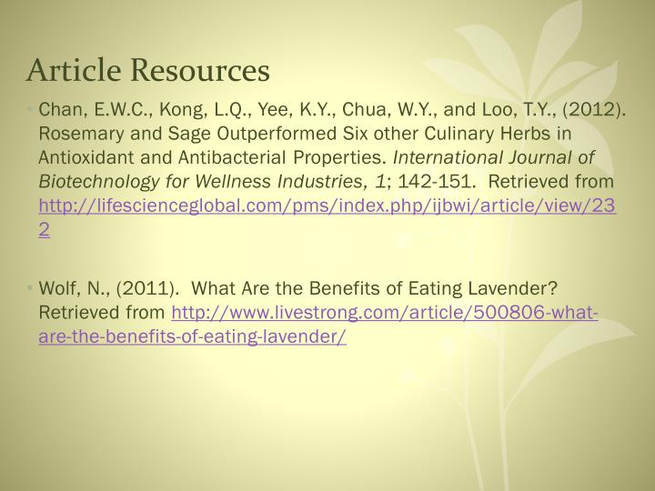Article Resources