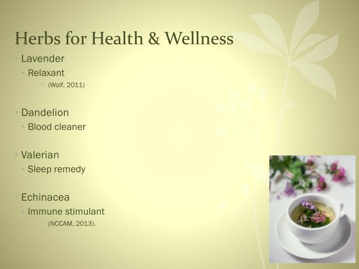 Herbs for Health & Wellness