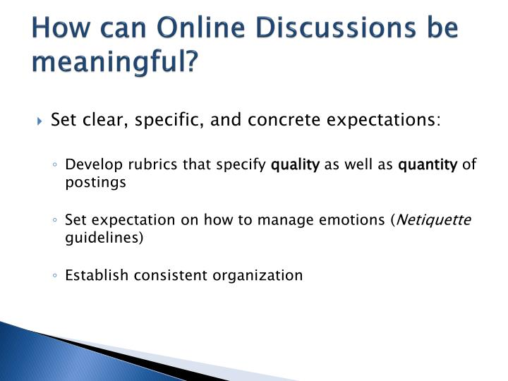 How can Online Discussions be meaningful?
