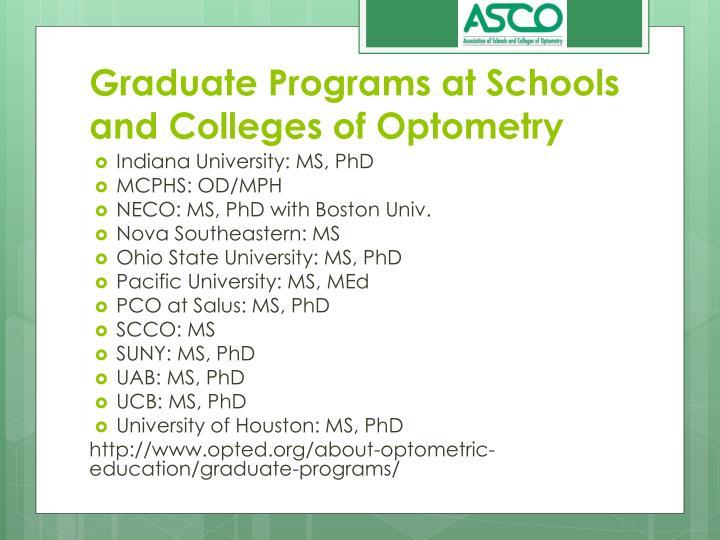Graduate Programs at Schools