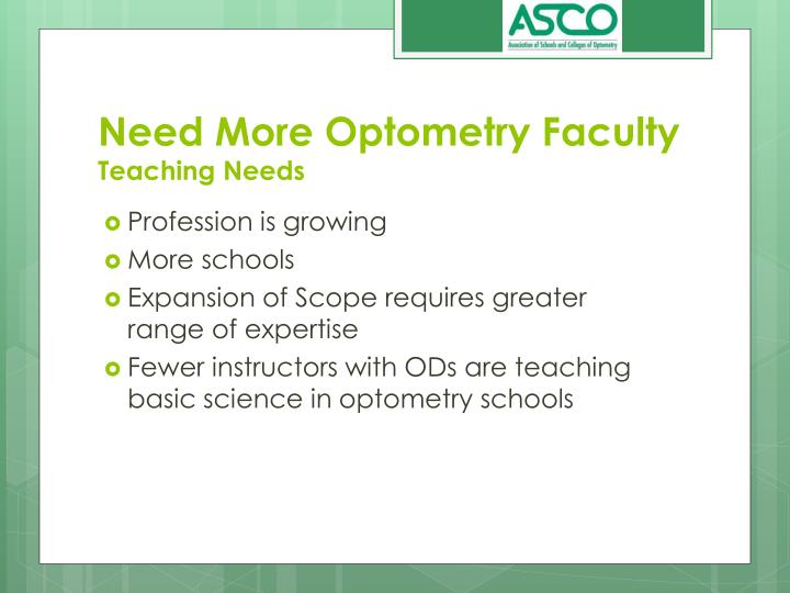 Need More Optometry Faculty