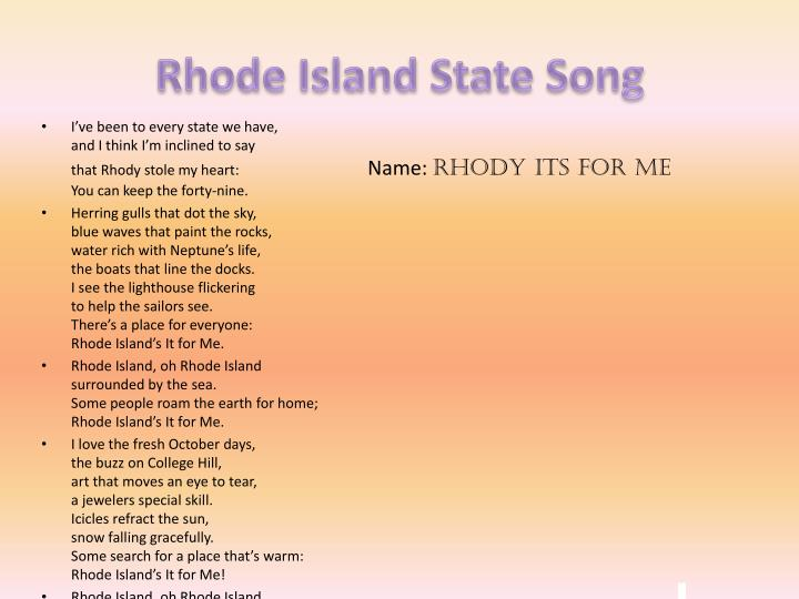 Rhode Island State Song