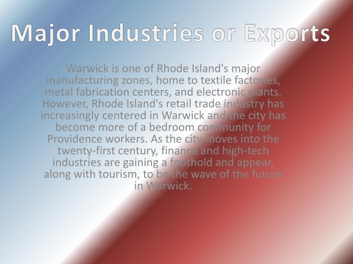 Major Industries or Exports