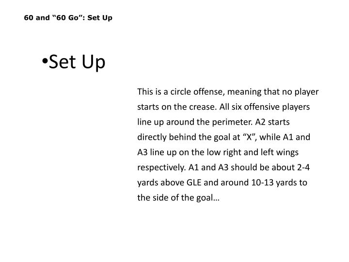 """60 and """"60 Go"""": Set Up"""