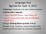 language arts agenda for sept 4 2012