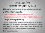 language arts agenda for sept 7 2012