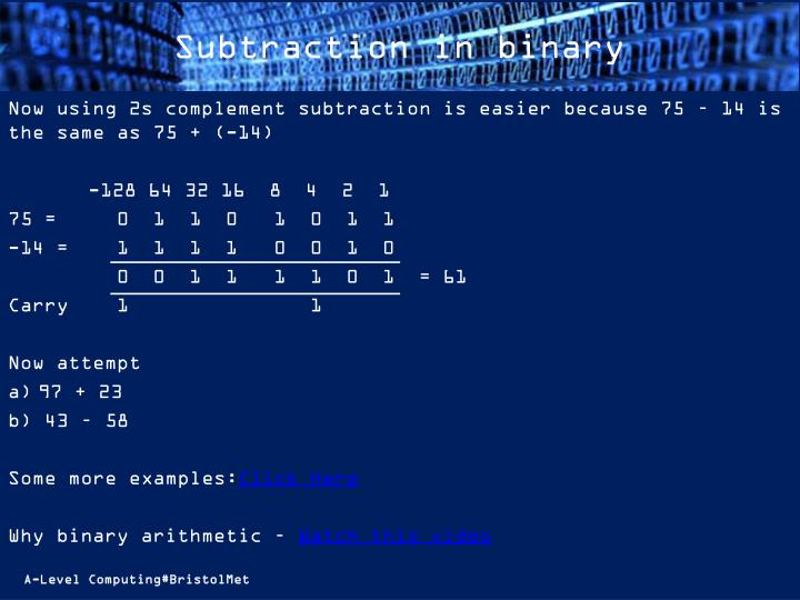 Subtraction in binary