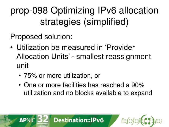 prop-098 Optimizing IPv6 allocation strategies (simplified)