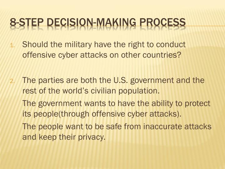 Should the military have the right to conduct offensive cyber attacks on other countries?