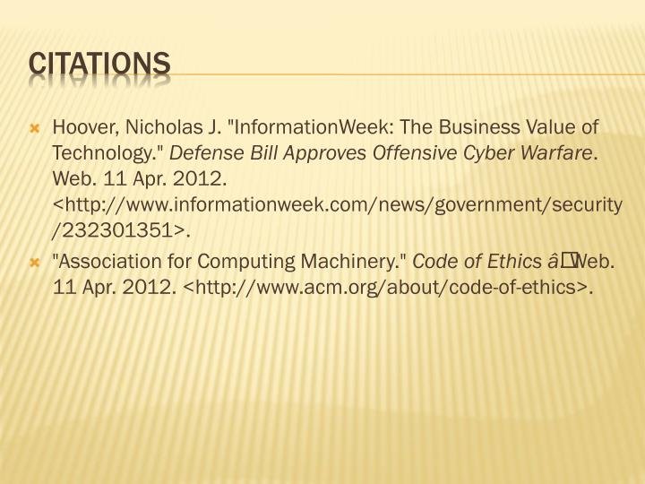 """Hoover, Nicholas J. """"InformationWeek: The Business Value of Technology."""""""