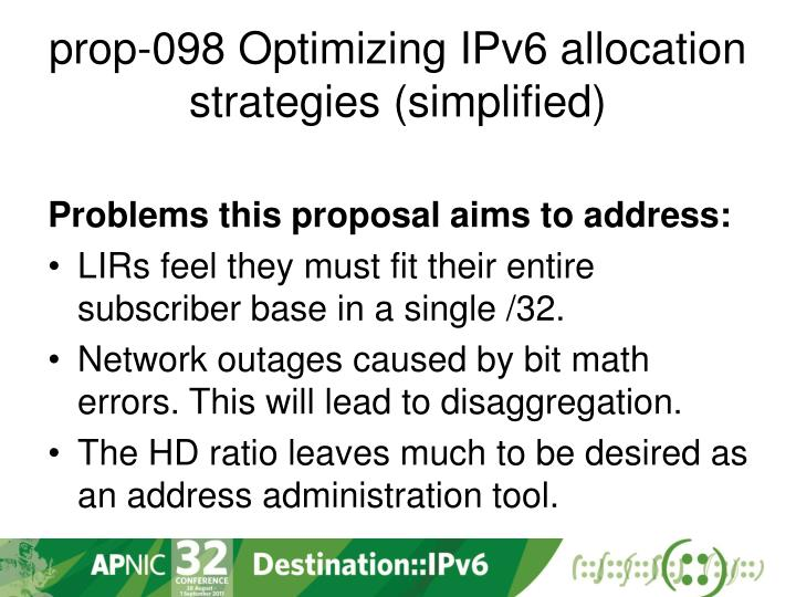 prop-098 Optimizing IPv6 allocation strategies (simplified)
