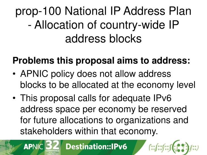 prop-100 National IP Address Plan - Allocation of country-wide IP address blocks