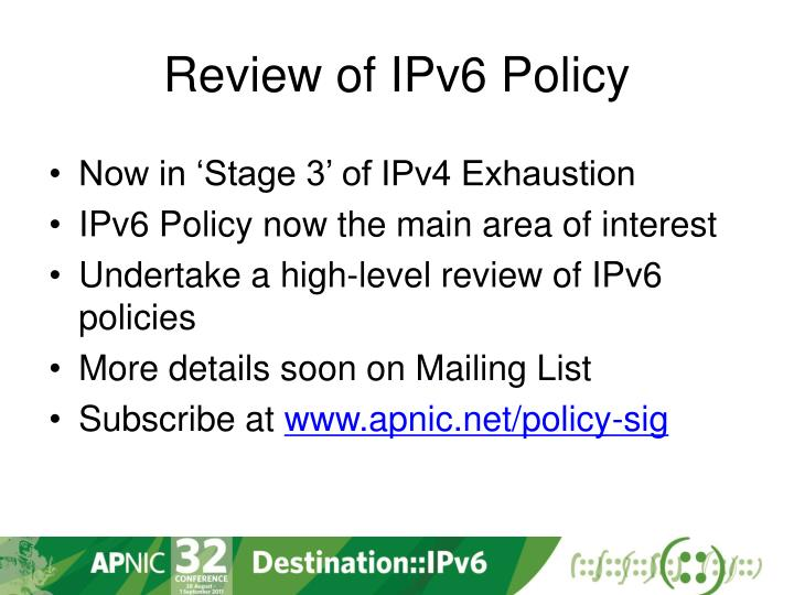 Review of ipv6 policy