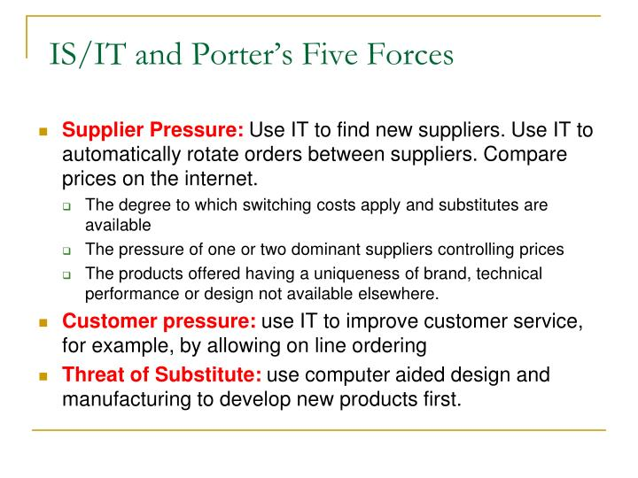 IS/IT and Porter's Five Forces