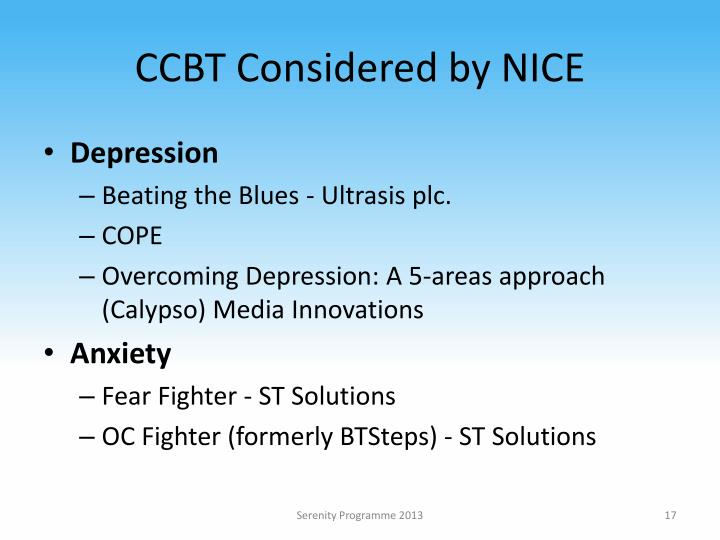 CCBT Considered by NICE