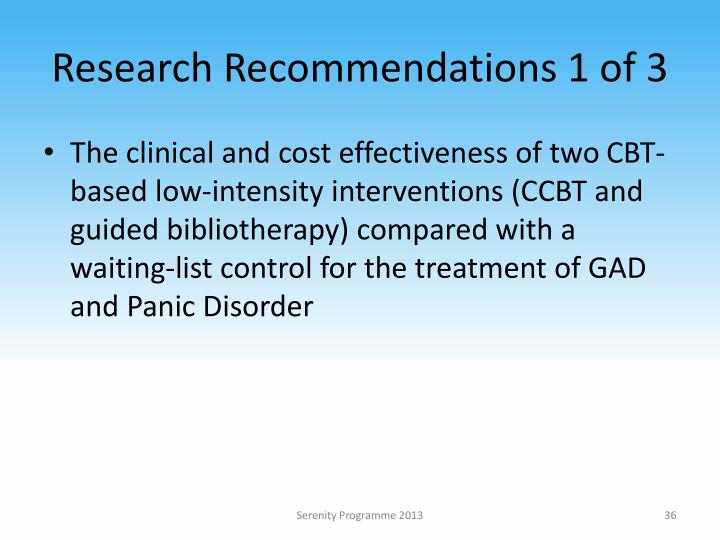 Research Recommendations 1 of 3