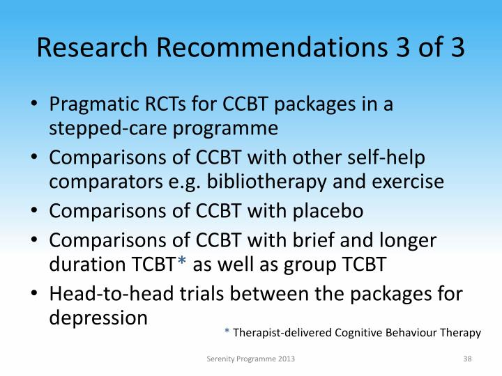 Research Recommendations 3 of 3