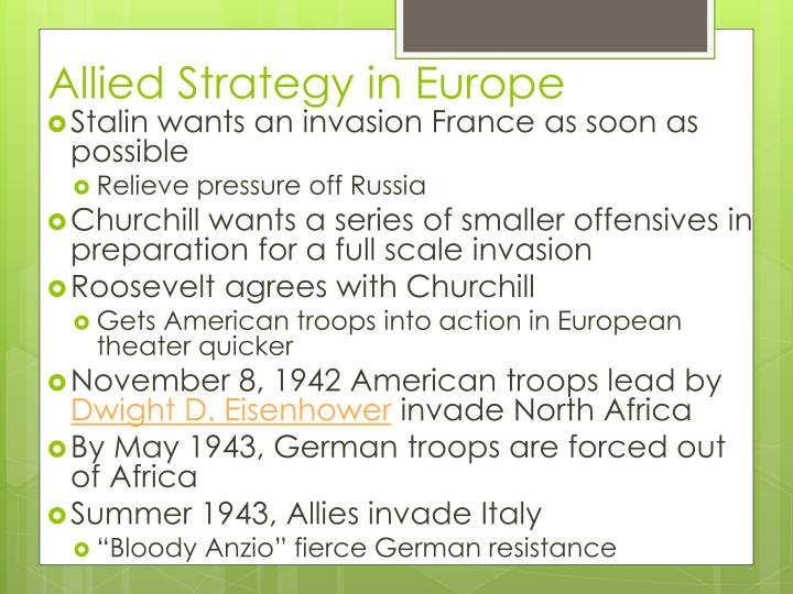 Allied Strategy in Europe