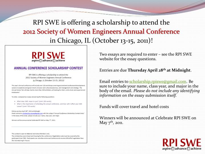 RPI SWE is offering a scholarship to attend the