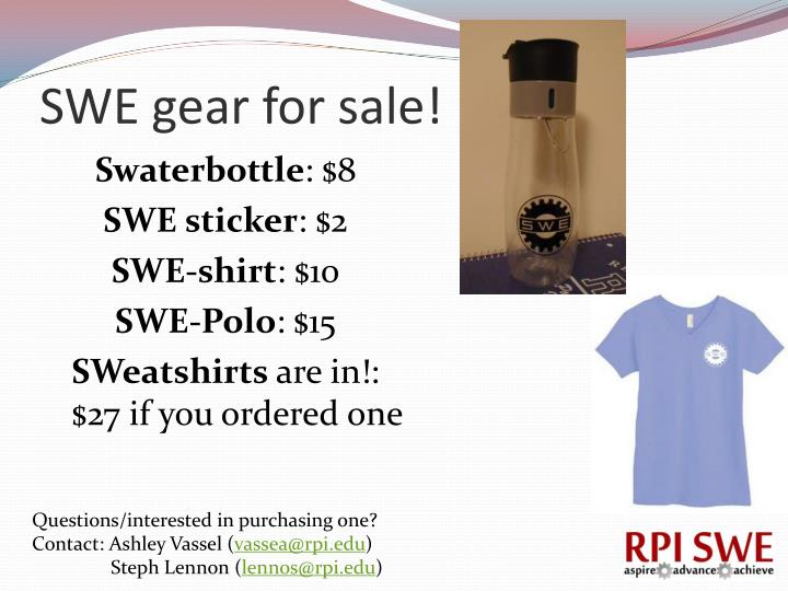 SWE gear for sale!