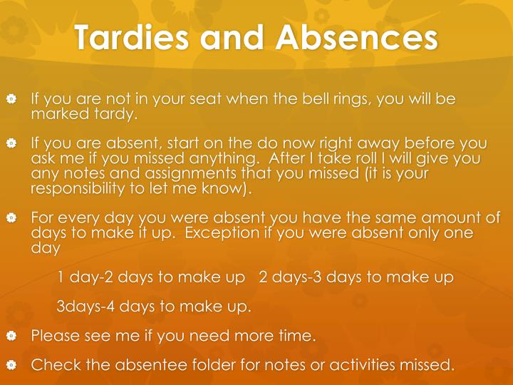 Tardies and Absences
