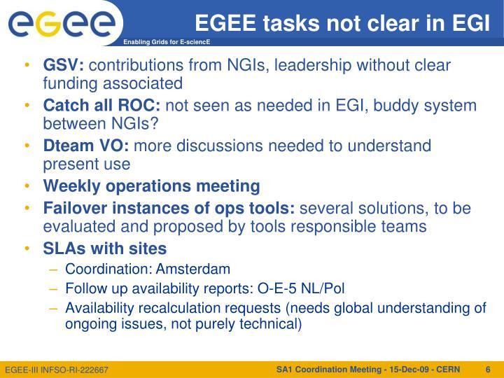 EGEE tasks not clear in EGI