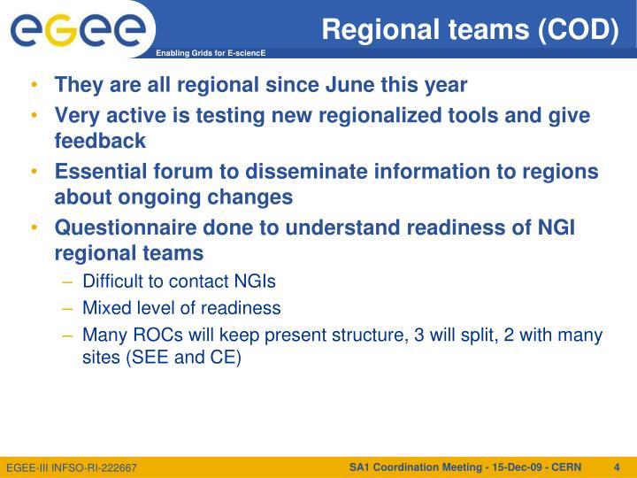 Regional teams (COD)