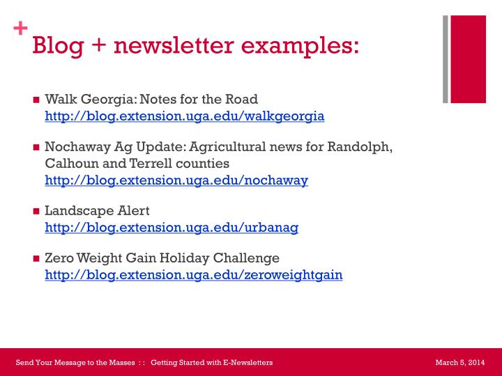 Blog + newsletter examples: