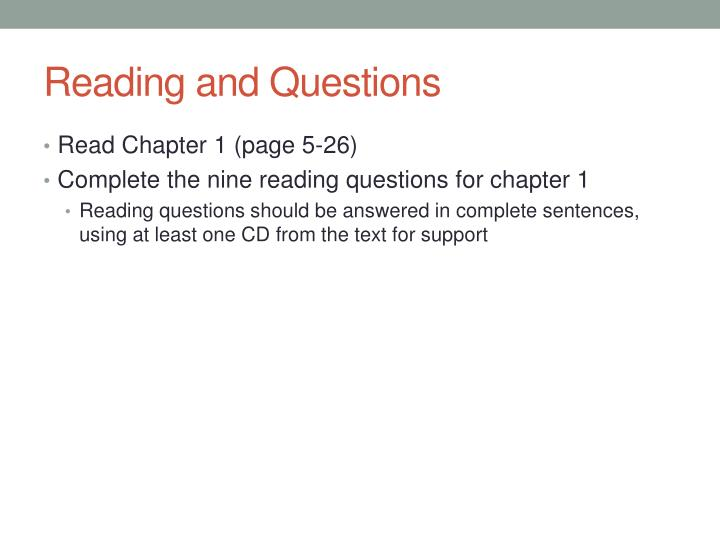 Reading and Questions