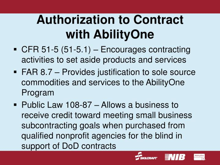 Authorization to Contract