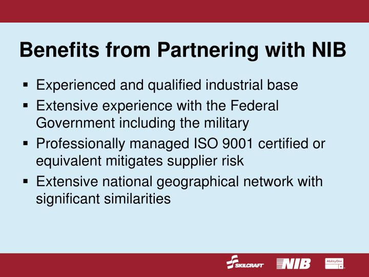 Benefits from Partnering with NIB